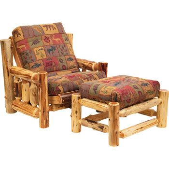 Cedar Log Rustic Futon Chair with Ottoman