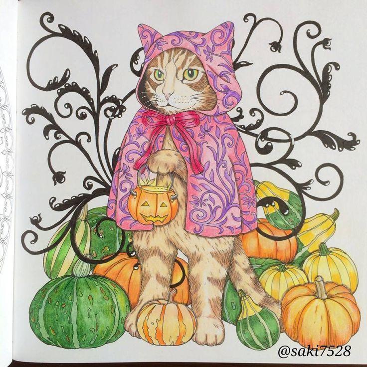 ハロウィンが近づいてきたので、塗ってみました❤ かぼちゃは義母がミニかぼちゃを育てているので、それを参考に * 洋服の色がハロウィンぽく無かったかも だけど、自分が気に入ってるから いっか * #塗り絵 #大人の塗り絵 #おとなの塗り絵 #コロリアージュ #ハロウィン #著色 #著色本  #색칠공부 #coloriage #coloringbooks  #森が奏でるラプソディー #江種鹿乃子 #adultcoloring #adultcoloringbook #色鉛筆  #油性色鉛筆 #colorpencil  #プリズマカラー #prismacolors