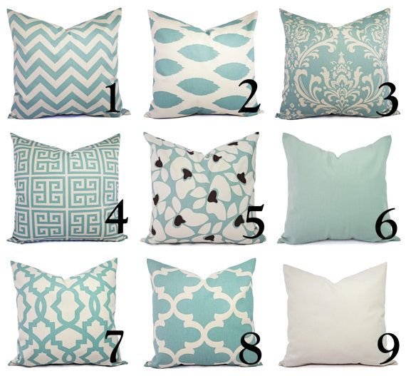 One Spa Blue and Beige Pillow Covers Throw by CastawayCoveDecor
