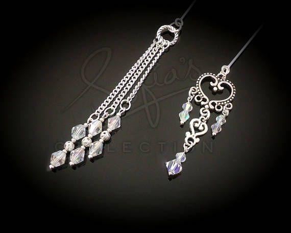 Silver Dangles Hijab Pin set  stick pin  cushion pin
