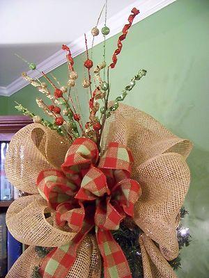 christmas tree with burlap ribbon for sale u2013 burlap red u0026 green plaid deco mesh christmas tree topper