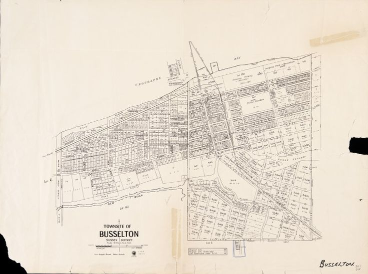 BUSSELTON  Cadastral map showing land use and zoning. Shows original lots, original lots subdivided and lots subdivided under the Transfer of Land Act. Includes enlargement of blocks on corner of Queen and Duchess Streets, scale 1 in. = 2 chains. Part of collection: Townsite maps, Western Australia. https://encore.slwa.wa.gov.au/iii/encore/record/C__Rb1869996