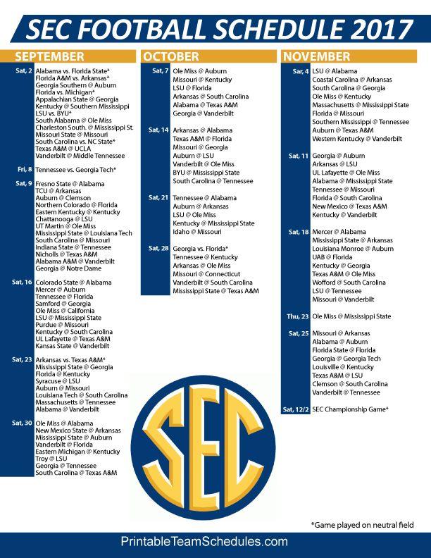 SEC Football Regular Season Schedule 2017