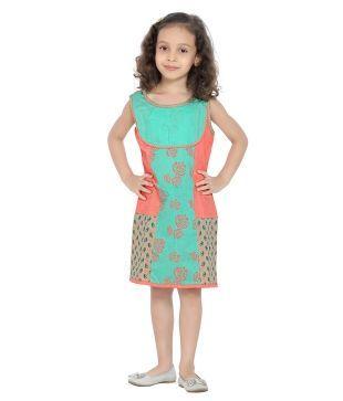 K&U Sleeveless Green,Peach & Beige Color Princess Cut Dress For Kids