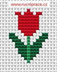 Little tulip, free cross stitch patterns and charts - www.free-cross-stitch.rucniprace.cz