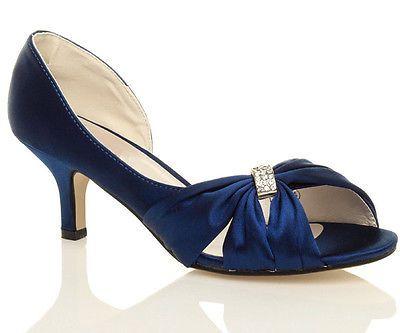 New Navy Blue Satin Wedding Low Heel Peep Toe Shoes Size 3