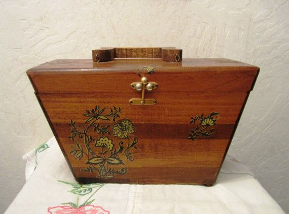 Vintage Wood Sewing Box With Handle And Hinged Lid