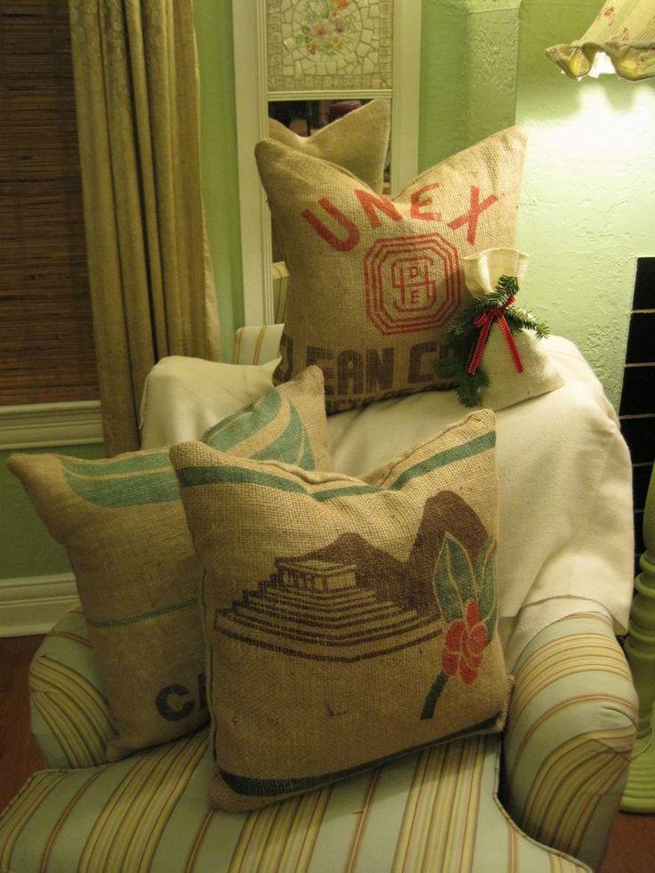 42 best images about burlap potato coffee sack ideas on for Burlap bag craft ideas