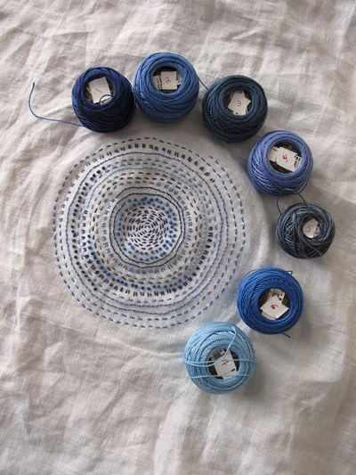 Spiral kantha running stitch embroidery in blues
