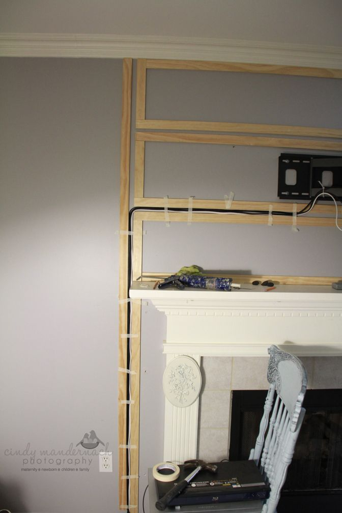 Hiding wires for mounted tv without running through walls. We don't have a  mantle but we are planning to mount the tv and I LOVE the idea of
