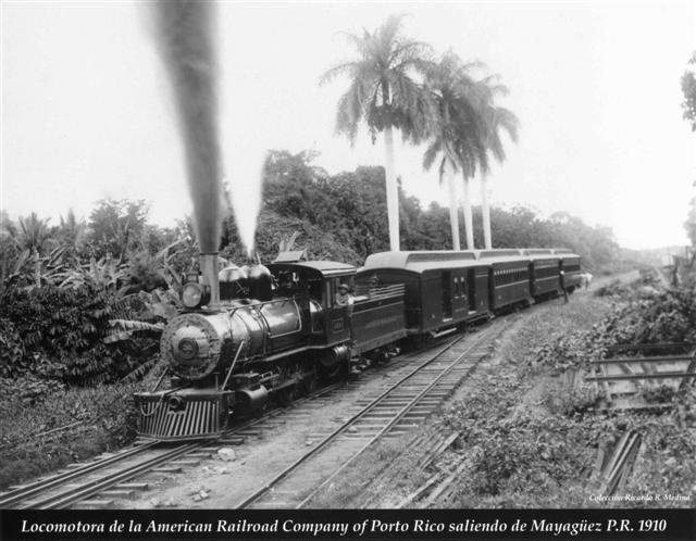 The American Railroad Company locomotive departing from Mayaguez, Puerto Rico in 1910