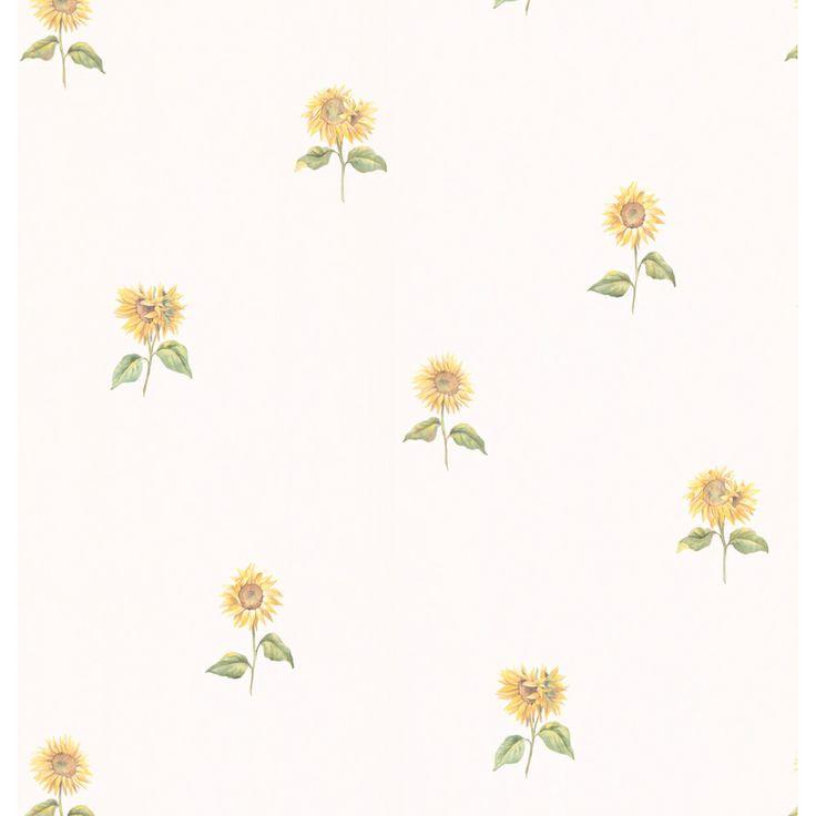 White Sunflower Wallpaper | Overstock.com Shopping - Top Rated Brewster Wallpaper