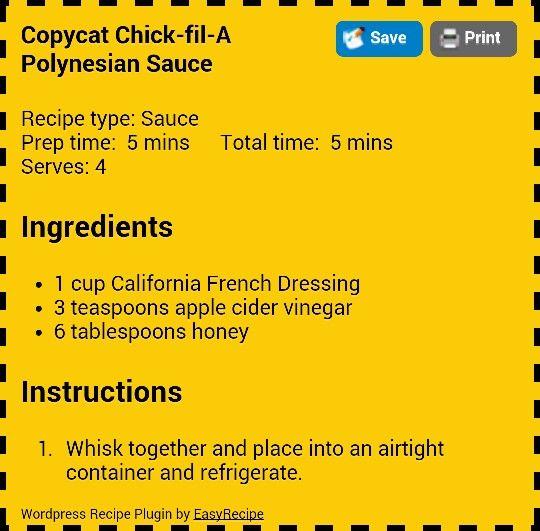 Chick-fil-A Polynesian Sauce Recipe