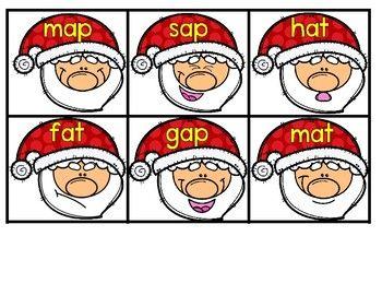 Santa Hat CVC Write the Room Matching Christmas File Folde