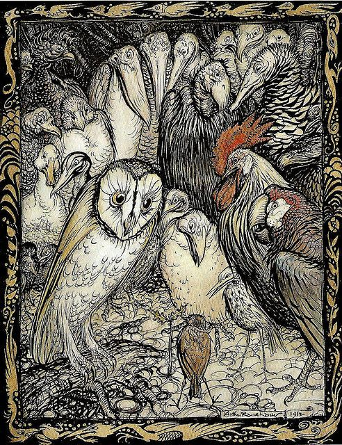 """The Owl and the Birds"" by Arthur Rackham, 1912"