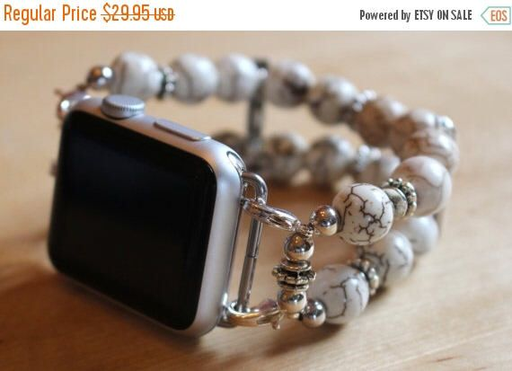 On Sale Ends Monday PM Apple Watch Band, Watch Band for Apple Watch, Watch Bracelet for Apple Watch, White and Brown Watch Band for Apple Wa by jewelrysldesigns on Etsy https://www.etsy.com/listing/472714483/on-sale-ends-monday-pm-apple-watch-band