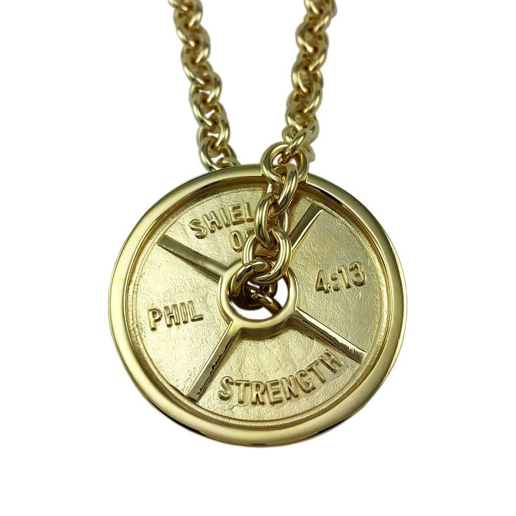 Shields of Strength - Men's Gold Stainless Steel JUMBO Weight Plate on Linked Chain Necklace-Phil 4:13 ®2013 ©2013, $199.99 (https://www.shieldsofstrength.com/mens-gold-stainless-steel-jumbo-weight-plate-on-linked-chain-necklace-phil-4-13-2013-2013/)