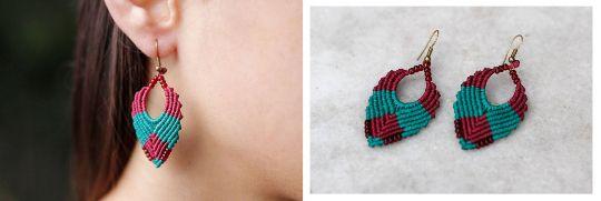 Bohemian-ethnic macrame drop earrings - Chic, micro macrame, dangle, burgundy, teal, gipsy, hippie!!!