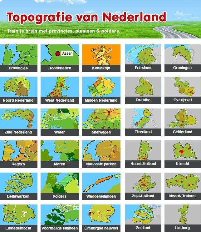Een aantal quizzen op deze website is gebaseerd op de lijst met aardrijkskundige namen die gebruikt wordt in het onderwijs: de Cito Basislijst Topografie. De 100 Nederlandse termen op deze lijst komen aan bod in deze spellen: provincies, hoofdsteden, waddeneilanden, wateren en plaatsen in Noord-, Zuid-, West- en Midden-Nederland.