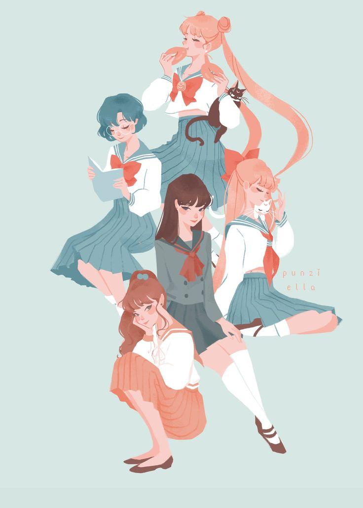 "Fan art of TsukinoUsagi (月野 うさぎ) with Luna (ルナ), MizunoAmi (水野 亜美), HinoRei (火野 レイ), KinoMakoto (木野 まこと), and  AinoMinako (愛野 美奈子) with Artemis (アルテミス) from ""Sailor Moon(美少女戦士セーラームーン/Bishōjo Senshi Sērā Mūn)"". || Credit goes to punziella."