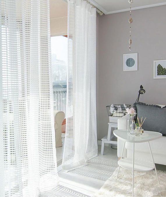 Pair Of White Net Curtains Voile Drapery Curtains Window Etsy