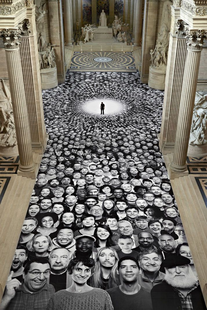 Portraits ''of people making faces'' have been pasted on the Pantheon's floor and dome, by French artist JR.