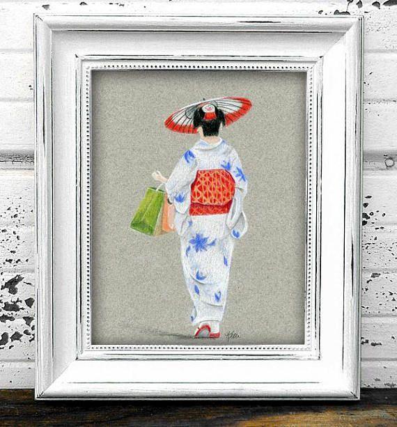 Kimono and Parasol Original Figure Drawing  Japanese Woman