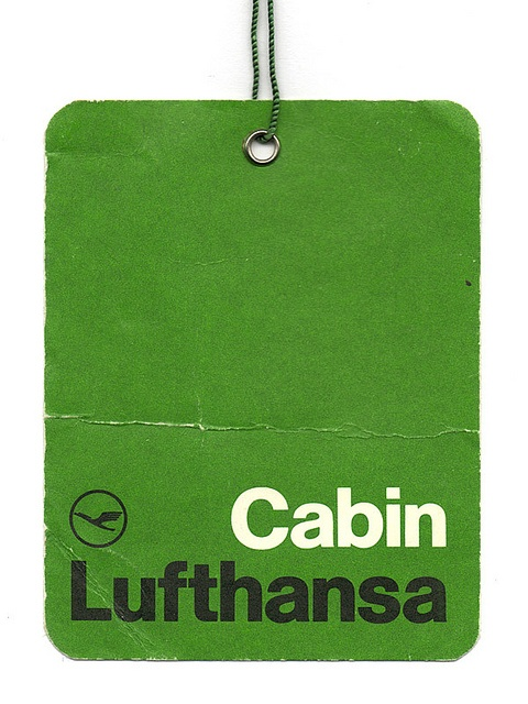 Lufthansa Cabin Label by Otl Aicher. repinned by Awake — http://designedbyawake.com