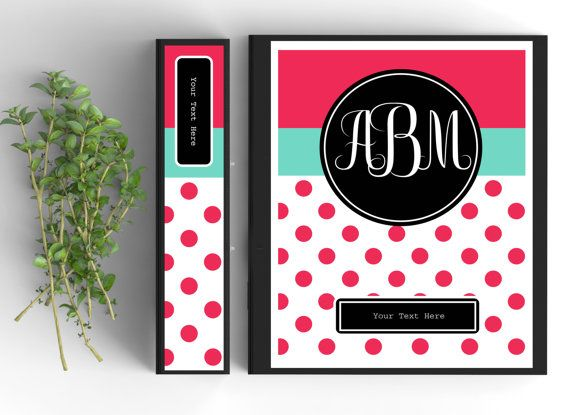 monogram binder cover personalized binder inserts and spines 8 5