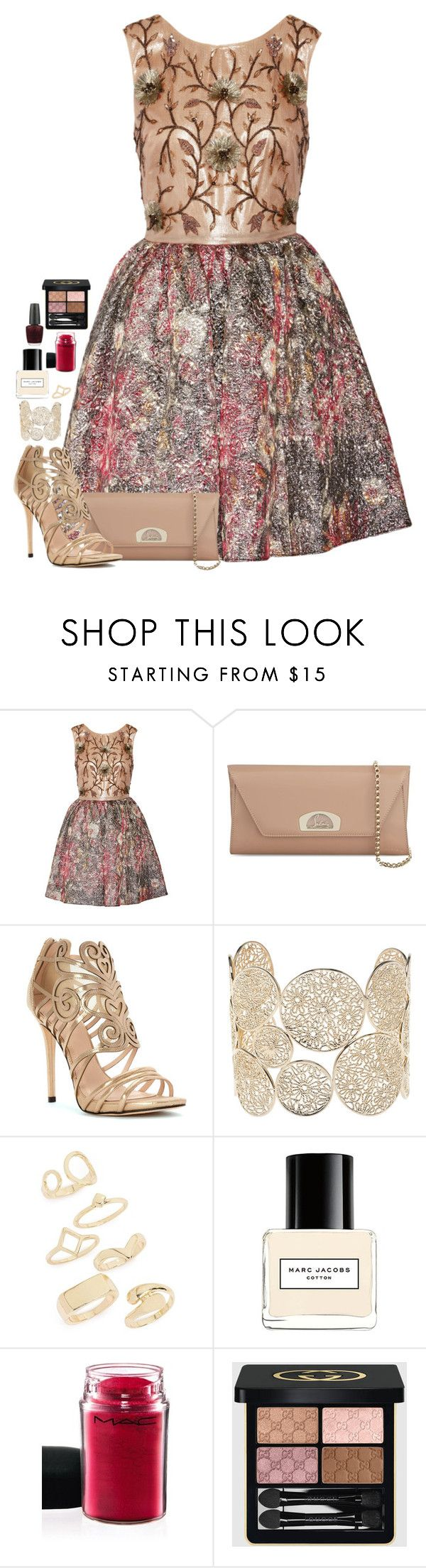 """""""Silver Lining"""" by cora97 ❤ liked on Polyvore featuring Notte by Marchesa, Christian Louboutin, Klub Nico, Isharya, Topshop, Marc Jacobs, MAC Cosmetics, Gucci and OPI"""