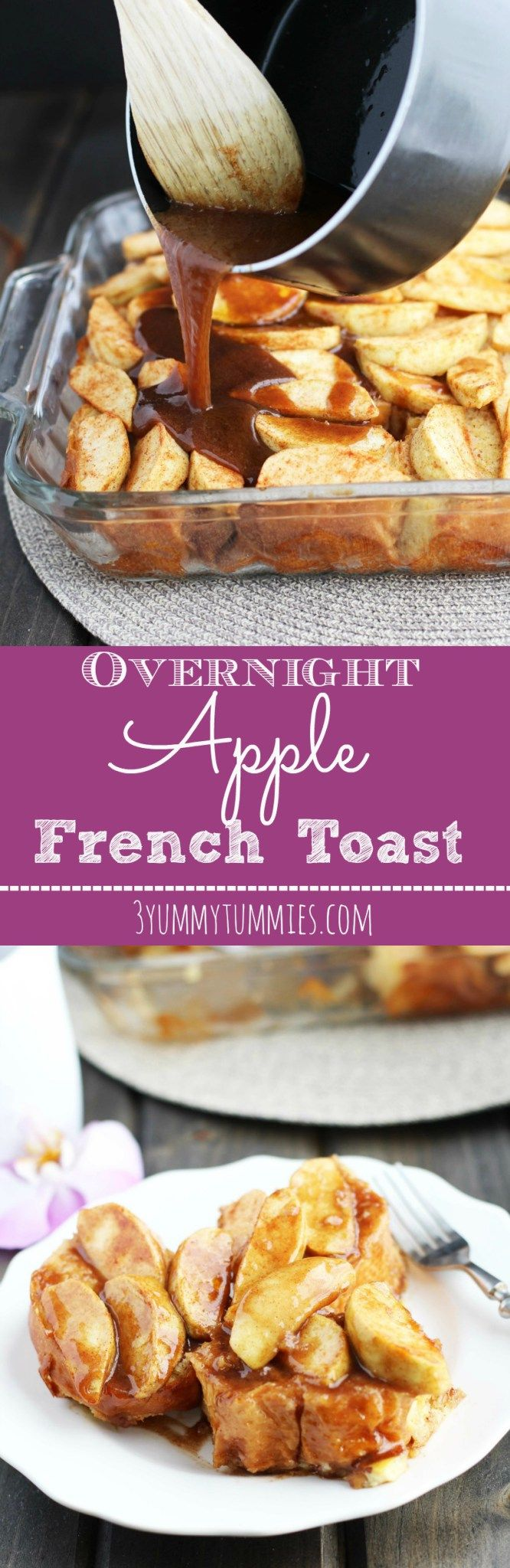 This yummy Apple French Toast Casserole is made the night before and topped with a warm, cinnamon sauce.