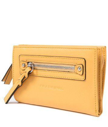 Желтый женский клатч кошелек из натуральной кожи