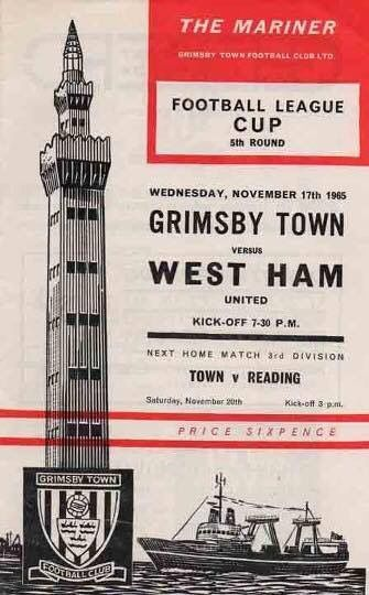 Football League Cup Game Grimsby Town V West Ham United at Grimsby Town Football Club Grimsby North Lincolnshire in Wednesday 17 November 1965