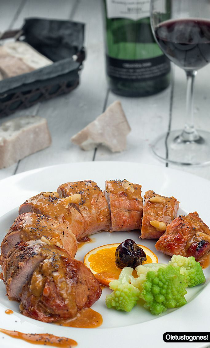 Solomillo de cerdo al vermut con salsa de naranja: