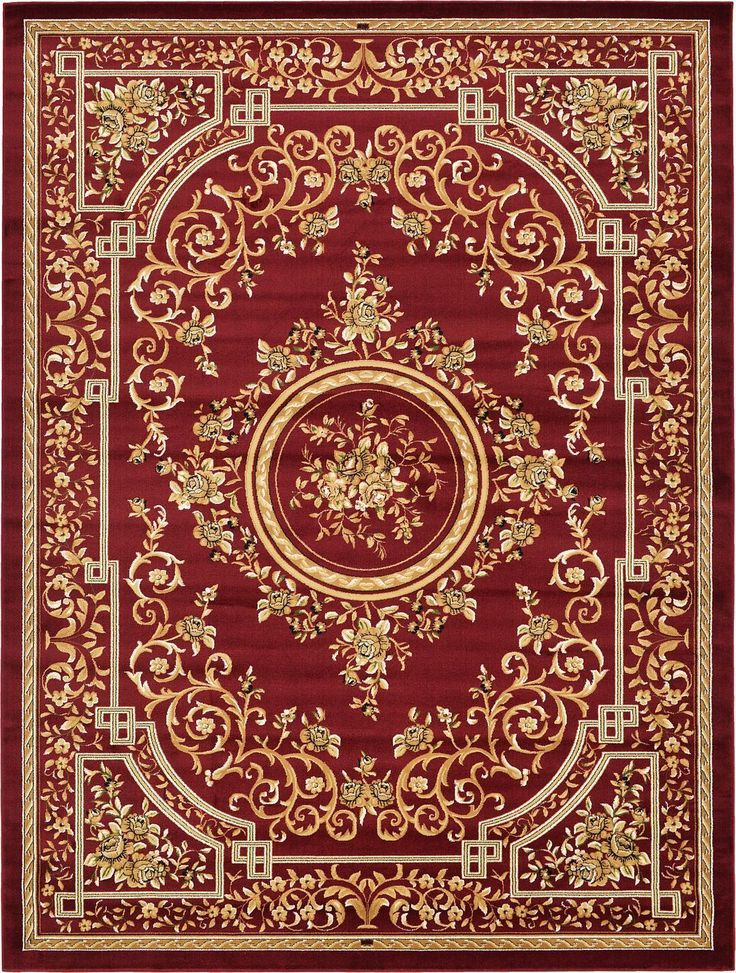 Red 9' 10 x 13' Classic Aubusson Rug   Area Rugs   eSaleRugs