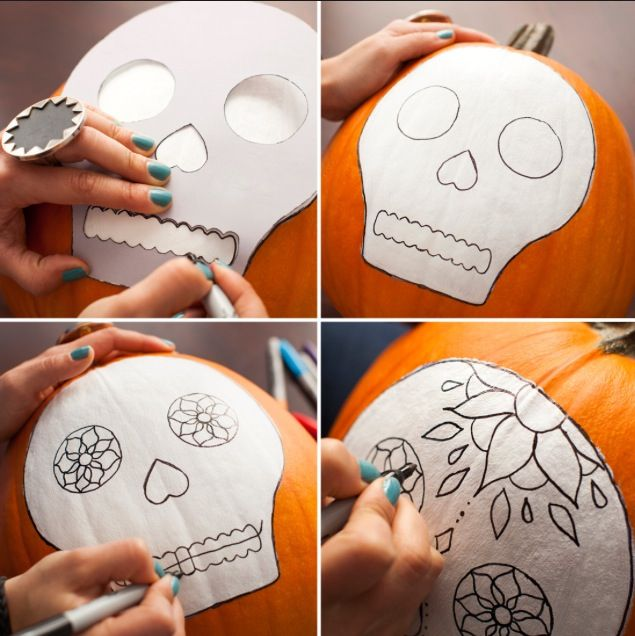 Awesome Sugar Skull pumpkin carving idea! Obsessed with sugar skulls so this idea is perfect for me! :)