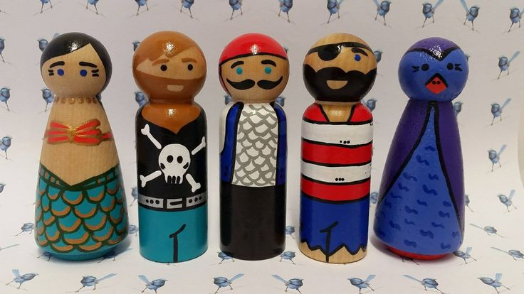 Wooden Peg Dolls - Pirates by bluewrenstudios on Etsy