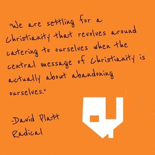 one of my favorite quotes from Radical. This is a must read. It will break you of your worldly view and get you back on track with what the Bible says and the way the Lord intended us to live and serve him.