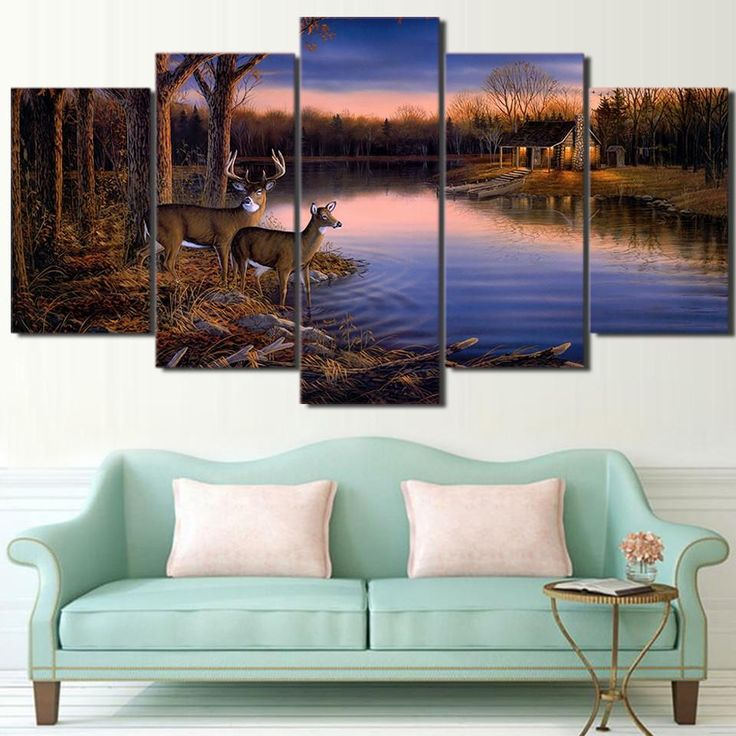 living room art prints%0A   Piece Canvas Art Deer Lake Landscape Sunset Painting Nature Wall Art   Pictures For Living RoomPaintings