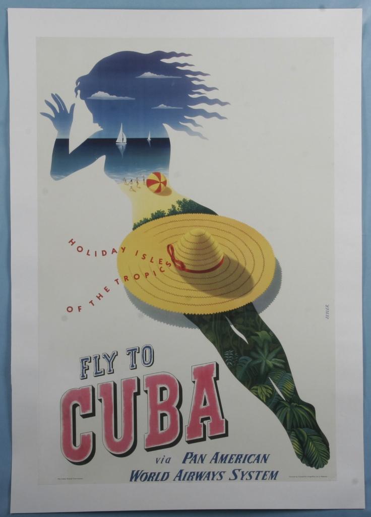1950 PAN AMERICAN WORLD AIRWAYS FLY TO CUBA TRAVEL POSTER designed by Julius Seyler