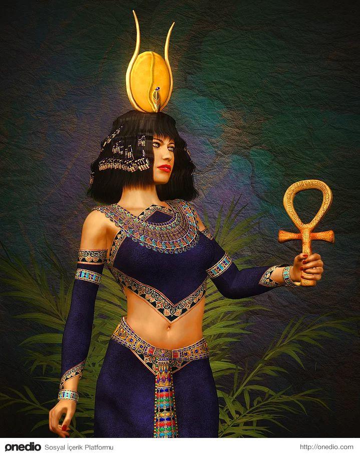 """Hathor (Mısır Mitolojisi) - İnek tanrıçası Hathor müzikle, cinsellikle ve annelikle özdeşleştirildi. Firavunlara """"Hathoréun oğlu"""" denili"""