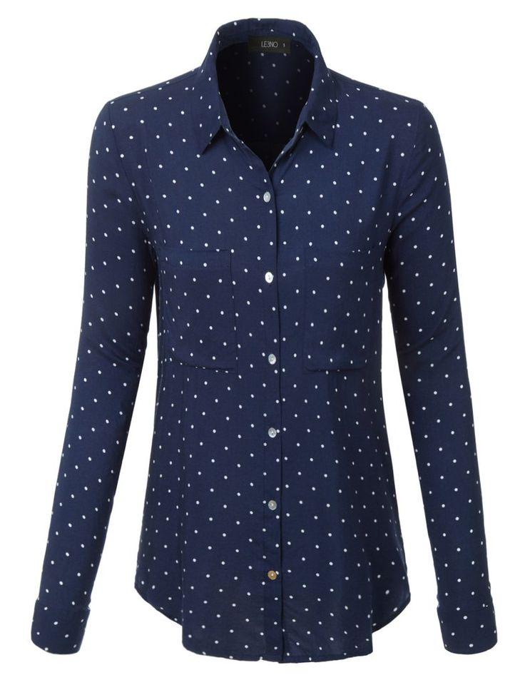 Le3no Womens Loose Fit Polka Dot Print Long Sleeve Button