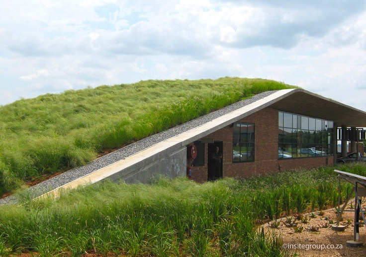 Green roof at DBSA, South Africa, by Insite landscape architects. Read more at http://insitegroup.co.za/?project=dbsa-vulindlela-gatehouse