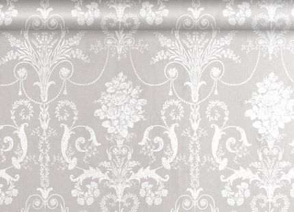 Josette White/Dove Grey Damask Wallpaper A French toile inspired damask design printed washable wallpaper suitable for all interiors including well ventilated kitchens and bathrooms. A bit girly, but I will still put it on the idea board!