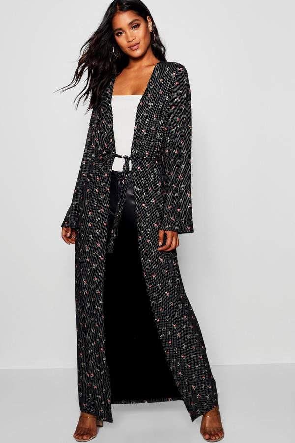 d12b88be0861 boohoo Polka Dot Floral Maxi Kimono #ad #kimono #womensfashion ...