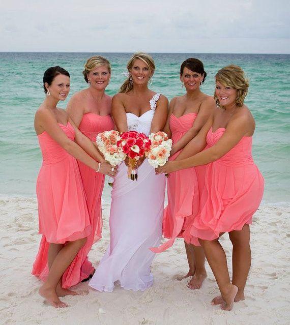 Coral Bridesmaid  Dress Short Bridesmaid Dress by RomantourBridal, $89.99