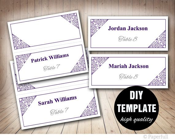 Purple Wedding Placecard Template Aubergine Wedding by paperfull