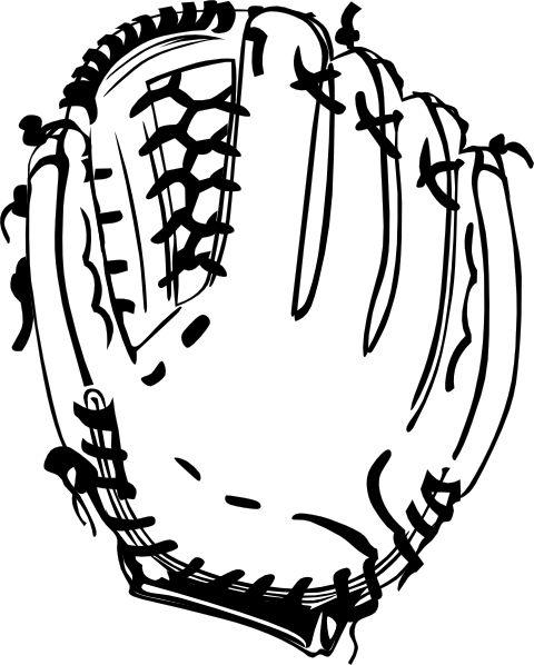 Gloves, baseball, baseball glove (B and W) clippings, SVG