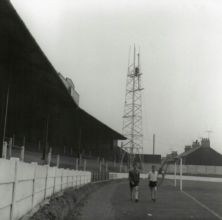Floodlights being installed at Mansfield Town's Field Mill in 1961.