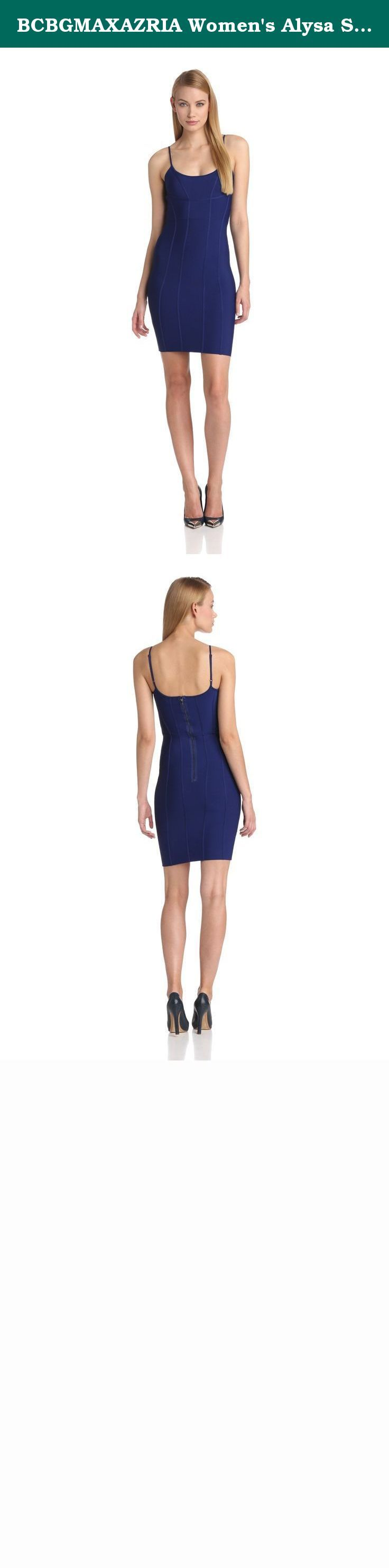 BCBGMAXAZRIA Women's Alysa Spagetti Strap Dress, Orient Blue, Large. A sensation in any season- this knit dress is a must-have for figure-flattering style.